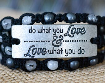 Love What You Do Multi Wrap Hemp Bracelet, Adjustable Bracelet, Quote Pendant Bracelet, Tourmalinated Quartz Bracelet, Boho Bracelet
