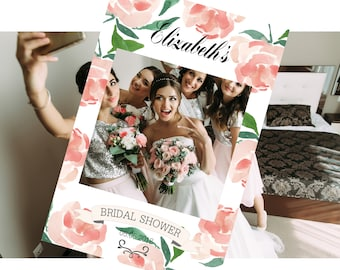 Bridal Shower Photo Prop Frame, Photo booth frame with watercolor pink red roses, very elegant but fun,  printable file