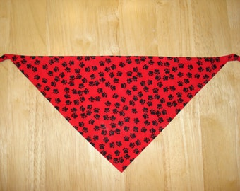 Red and Black Paw Prints Bandana (3 sizes)