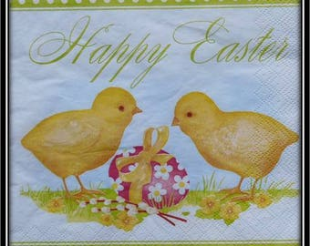 """napkin theme Easter chicks and egg """"happy easter"""""""