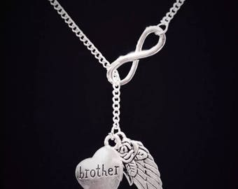 Infinity Guardian Angel Wing Brother In Heaven Memory Sympathy Gift Memorial Y Lariat Necklace