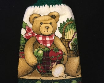 Teddy Bear with Veggies Double Sided Kitchen Hand Towel Paddy Green 1