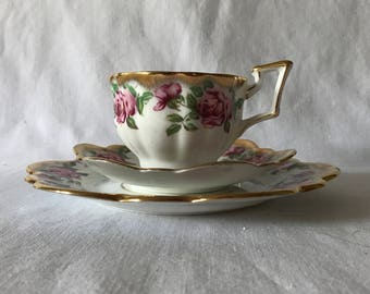 Beautiful Vintage Salisbury England Fine Bone China Tea Cup and Saucer with Dessert plate 3 piece set cottage home farmhouse decor