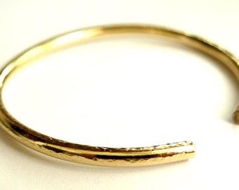 Gold Bangle, Open Bangle Bracelet, Anniversary Gift, Textured Bangle Bracelet, Modern Stacking Bracelets, Handmade Bracelet, Venexia Jewelry