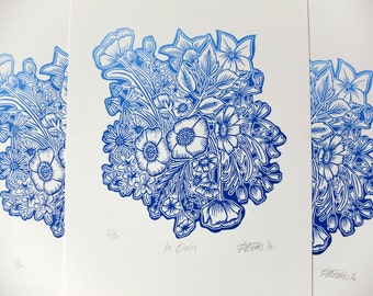 In Bloom Blue Edition Flowers Lino Print