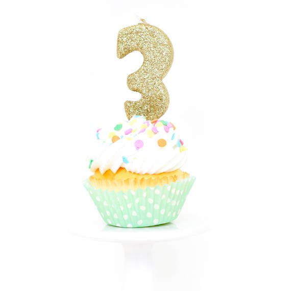 """3"""" Number 3 Candle, Giant 3 Candle, Gold Birthday Candle, Gold Party Decor, Three Glitter Candle, Gold Glitter Candle, Birthday Party"""