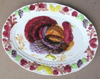 Vintage Thanksgiving Hand-painted Color Porcelain White Turkey Embossed Platter - Made In Japan