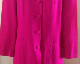 1980s Hot Pink, Wool Suit by Evan Picone in Size 8. Made in USA.