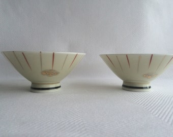 Vintage Japanese hand-painted bone china rice bowls