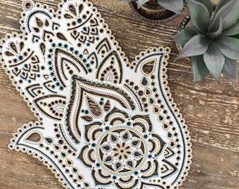 40cm Boho Hand Painted Wooden Laser Cut Henna Hamsa Hand Wall Hanging (Bohemian Home Decor/Art/Interior Design).
