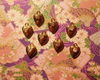 8 Goldplated Heart Charms with Rhinestone