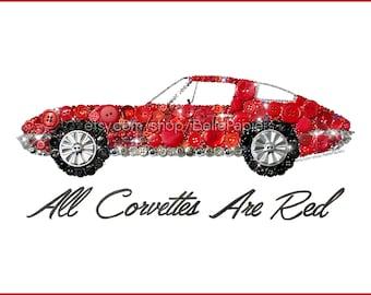 Corvette Stingray Wall Art | Chambre d'enfant voiture de course | Stingray corvette 1963 | Bouton de voiture de sport | Voiture de sport rouge | Art du bouton voitures | Chevrolet