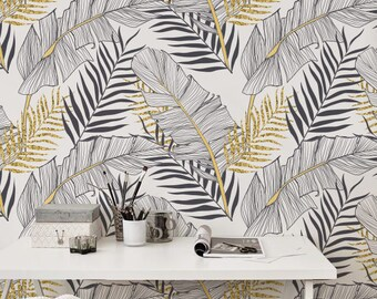 Tropical Gold Leaves Removable Wallpaper || Palm Leaf Wall Decor ||  Temporary Wallpaper || Modern And Elegant Pattern #148