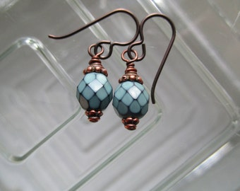 Hypoallergenic Niobium Ear Wires with Copper and Opaque Teal Simple Snake Czech Glass Earrings Affordable & Handmade Little Pretty Earrings