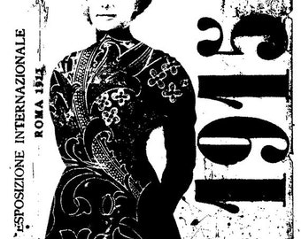 EZ Mounted Rubber Stamp 1915 Woman Roma Italy Collage Altered Art Craft Scrapbooking Cardmaking Collage Supply.