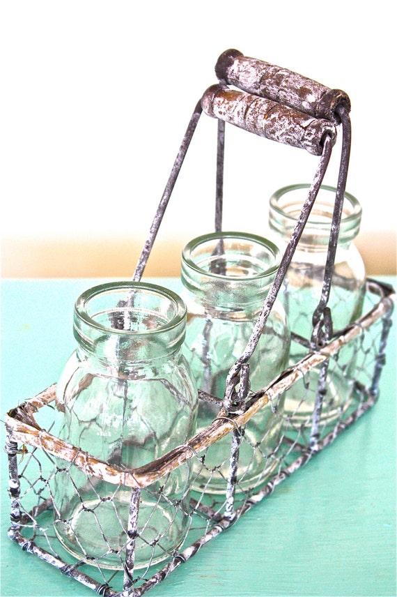 milk bottles- chicken wire basket- three milk bottles-milk bottles ...