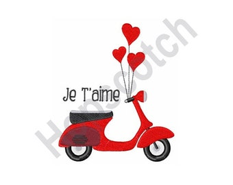 Je Taime - Machine Embroidery Design, Scooter, Hearts, Balloons, I Love You