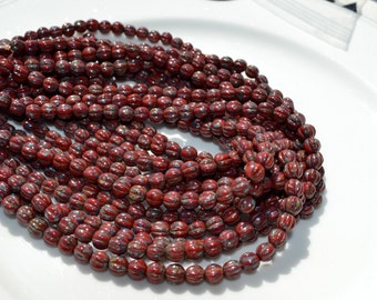 Opaque Red Picasso 5mm Melon Round Czech Glass Beads  50