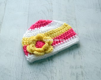 Crochet Baby Hat, Baby Girl Hat, Baby Winter Hat,  Baby Girl, Crochet Hat, Newborn Hat, White,  Hot Pink, Yellow,  READY TO SHIP, Newborn