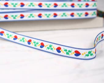 6 m Ribbon 12mm, polyester, white and colored patterns, (4690)