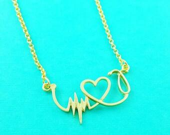 Gold or Silver Stethoscope Necklace, Pulse Necklace, Cardiogram Necklace, Nurse Necklace, Doctor, Lifeline, Pulse, ECG, EKG, Med School Gift