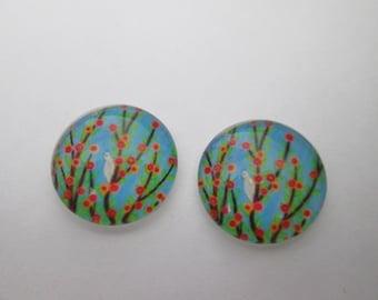 2 cabochons glass 16 mm bird tree pattern