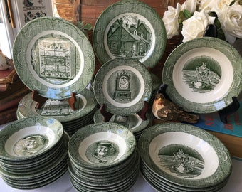 Royal The Old Curiosity Shop Service for 10 plus 67 pieces made in USA mid century dinnerware set