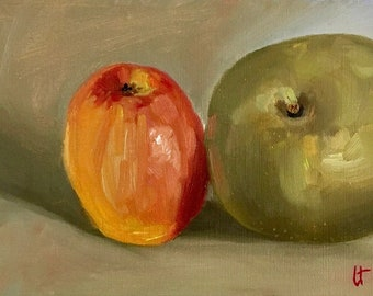 Apples, original painting, oil painting, still life, oil still life, wall art, red, green, wall decor