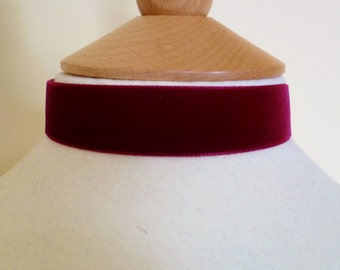 Plain red velvet Choker 22mm velvet ribbon medieval necklace red velvet ribbon choker wedding love
