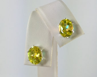 Yellow Mystic Topaz 8x6mm 3.20ctw Sterling Silver Gemstone Studs