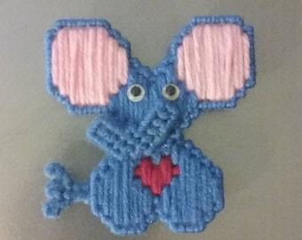 Plastic Canvas Blue Elephant Magnet