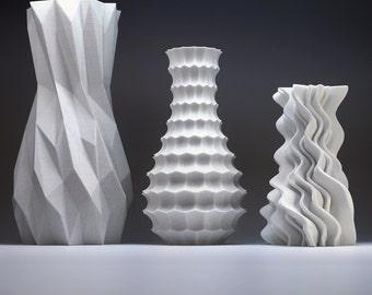 Modern Home Decor Bud Vase Set - Geometric Vase - Art Vases - Art Home Decor Funky 3d Printed Vases Gift Pack Modern Vase Decor