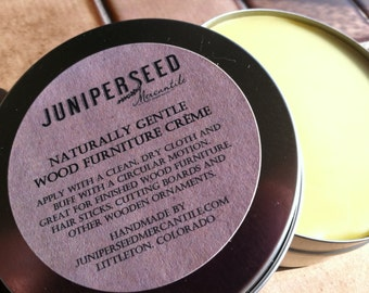 Ecofriendly All Natural Wood Furniture Creme - 4 oz Metal Tin - Great for Old Leather, Hair Sticks, Cutting Boards Too