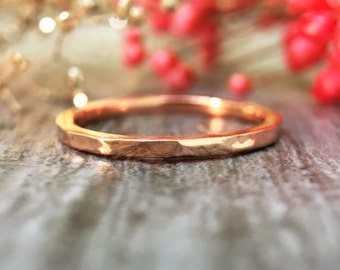 1.4MM Hammered Band   Stackable Ring   Thin Ring   Solid 14K Gold   Fine Jewelry   Free Shipping
