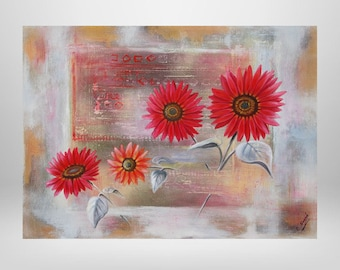 Sunflower, flower, oil painting, print on canvas