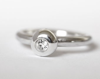 Cubic Zirconia Ring, CZ and silver ring, solitaire ring, diamond ring, gemstone ring