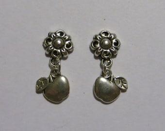 School Teacher Apple Silver Dangle Magnetic Earrings Apples, Schools, Teachers, Education, Appreciation