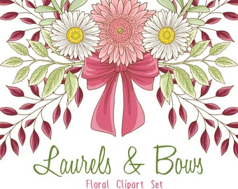 florals and laurels clipart, bouquets and banners floral wreaths pink and yellow green florals graphics, wedding invitations, commercial use