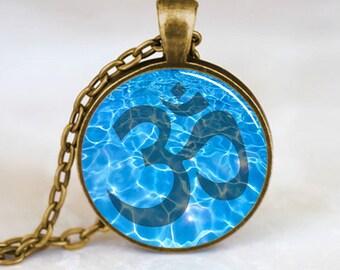 Namaste Necklace , Om Yoga Pendant, Zen Jewelry (PD0541)