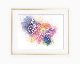 Butterfly and Flower Painting, Butterfly and Flower Art, Flower and Butterfly, Flower and Butterfly Art, Butterfly and Flower Print