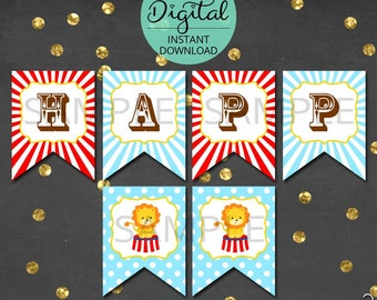 Circus Birthday Banner, Circus Bunting, Carnival Banner, Pennant, Bunting, Carnival, Circus, Party Decoration, INSTANT DOWNLOAD #5423