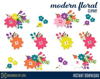 Modern Flower Clipart, Pink Floral Clipart, Orange Flowers Clip Art, Pink Flowers Clipart, Clip Art Floral, Yellow Flowers Clipart