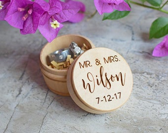 Wedding Ring Box, Wooden Ring Box, Personalized Wedding Ring Box, Ring Bearer Box, Wedding Rings Holder, Rustic Ring Box