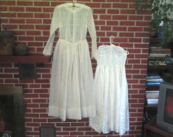 Vintage 1940s Lovely Ivory Voile Wedding Dress with Strapless Rayon Zippered Slip
