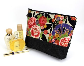 Large Travel Pouch, KImono Cosmetic Bag, Great Gift Idea, Padded Makeup Bag, Peony