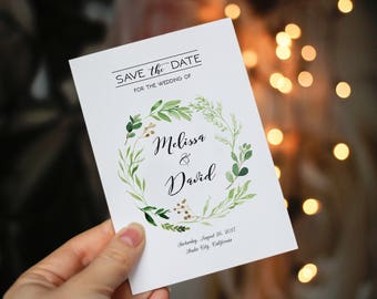 Save the date template, Printable Save the Date Card, Greenary Save the date template, Rustic save the date, Green Leaves Rustic Wedding