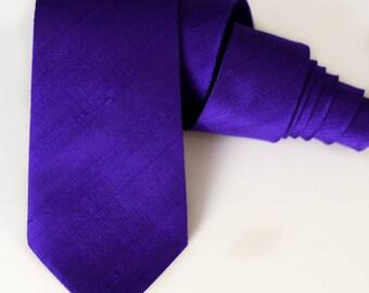 Violet Purple Neck Tie - Ultra Violet Ties - Pantone Color of the Year - Raw Silk - Groomsmen Ties - Violet Purple Wedding - Galaxy Violet
