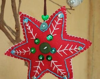 Handamde red felt start ornament