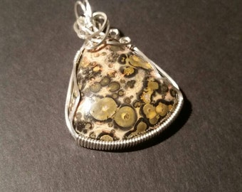 Poppy jasper pendant, wire wrapped sterling silver, ocean jasper. Price reduced!