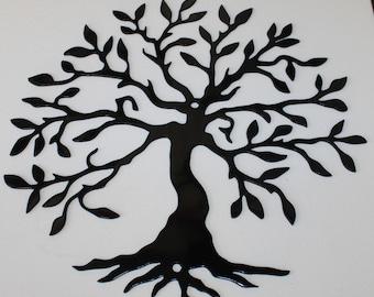 Tree of Life 2 Metal Wall Art Home Decor Gloss Black